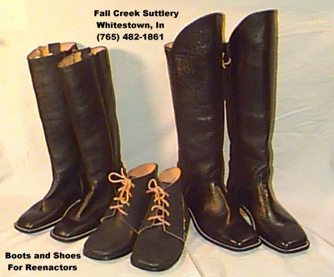 Sutler of Civil War Boots and Shoes -Fall Creek Suttlery