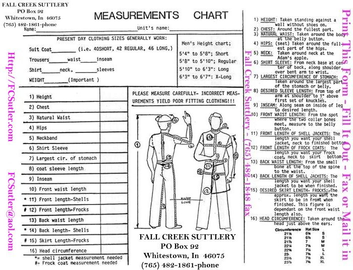 Fall Creek Suttlery Uniform Measurement Chart